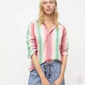 NWT J CREW Stripe Linen Long Sleeve Shirt Size 8